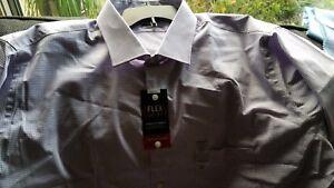 NWT - Van Heusen Purple Striped Long Sleeve Flex Dress Shirt - 19 - 36/37