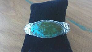 Native American Sterling Silver Sonoran Gold Turquoise Cuff By Mary A. Spencer