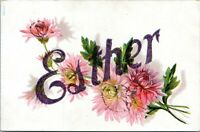 1907 Esther Name Flowers Art Embossed Mica Postcard DT