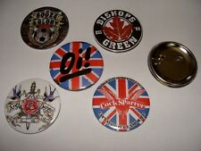 LOT 5 BADGES 56mm OI SKIN PUNK  BOOZE AND GLORY COCK SPARRER ARGY BARGY ETC