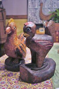 Folk Art Hand Carved & Painted Pair Wood Roosters PA Folk Artist