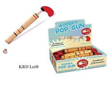 Kids Traditional Wooden Cork Pop Gun Toy Classic Christmas Stocking Filler Gift