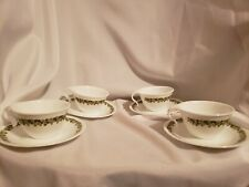 Corelle Crazy daisy green flower 8 pc set hook handle cups and saucers