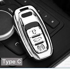 SILVER AUDI Smart Key A4 A5 A6 Q5 Q7 TT R8 Remote Key Cover Case Protective 360