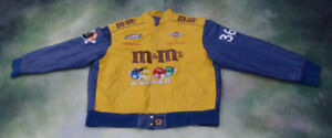 Vintage JH Design NASCAR Ken Schrader M&M Leather Jacket Size XXXL__Made In USA.
