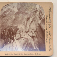Group in Box Canyon Ouray Co Keystone Stereoview 1904