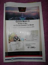 DAVID GARRETT ANZEIGE  Poster Bild Foto  QUEEN MARY 2 STARS AT SEA CD DVD Ticket