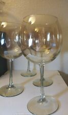 Vintage 4 LARGE Amber Gold Glass BALLOON WINE GOBLETS