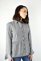 New Womens Innocence Grey & Black Prince Of Wales Check Cotton Shirt Size 8-14