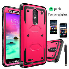 For LG Stylo 3 Plus/Stylus 3 Plus Hybrid Phone Case Cover+ Tempered Glass Film