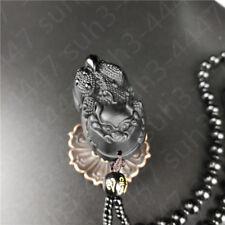 Natural Black Obsidian Dragon Pixiu Pendant Fashion Bead Necklace Charm Jewelry