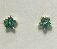 9ct Yellow Gold Dainty Flower Emerald & Diamond Cluster Stud Earrings