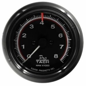 Equus 3-3/8 Inch Black Faced Mechanical / Electrical Tachometer 6088 0-8000 RPM