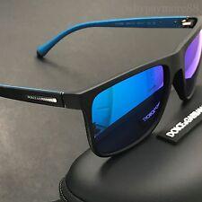 Dolce & Gabbana DG6086 Matte Black Blue Iridium Mirrored Lens Classic Sunglasses