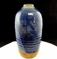 """KAY PERRINE SIGNED ART POTTERY 9 1/4"""" BLUE GLAZE RIBBED VASE"""