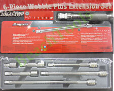 """New Snap On 3/8"""" Drive 6 Piece Wobble Plus Ratchet Extension Set - 206AFXWP"""