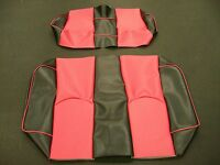 EZ-GO TXT Golf Cart Deluxe™ Vinyl Seat Covers-Staple On(Blck/Red w/Piping)