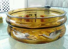 Moser enamel egrets flying console bowl Victorian