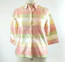 Jones New York Country Jacket Shirt LARGE Silk Pink Yellow Green Plaid Pastel