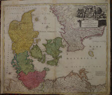 CARTE ANCIENNE DU DANEMARK MER BALTIQUE  JB HOMANN EPOQUE XVIII° 1710