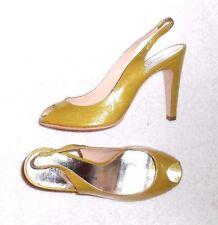 MARC BY MARC JACOBS sandales  cuir verni vert pailleté doré P 38 ½ = 37 ½  neuf