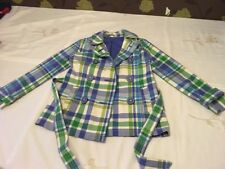 GENUINE BODEN FULLY LINED CHECK 100% COTTON JACKET TIE FRONT BIG BUTTONS SIZE 10