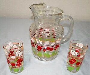 Vtg MCM Hazel Atlas Glass RED/WHITE/GREEN Dot Ice-Lip Pitcher & 2 Tumbler Set