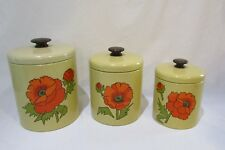 Hand Painted Set Of 3 W/ Lids Ransburg Kitchen Nesting Canisters  Floral Yellow