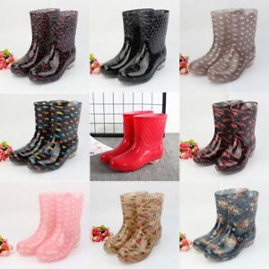 Women's High Top Mid Calf Waterproof Rubber Comfortable Flat Shoes Rain Boots