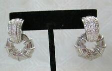 JUDITH RIPKA Sterling Silver 925 and CZ Door-Knocker Dangle Pierced Earrings