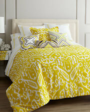 TRINA TURK IKAT 2PC SET,  1 TWIN DUVET COVER 1 STANDARD SHAM YELLOW AND WHITE