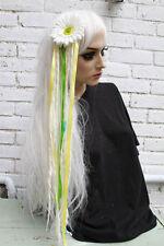 White Flower hair clip with long wool dreads festival kawaii harajuku Gobbolino
