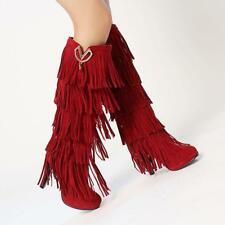 NEW Womens Boho Faux Suede High Heels Fringe Tassel Western Knee High Boot Pumps