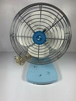 Vintage Mid Century Retro Superior Electric Robin Egg Blue Table Fan Model 800