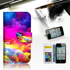 Colorful Cloud Wallet Case Cover For Apple iPhone 4 4S -- A021