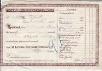 The National Telephone Company Ltd 1909 Received Official Receipt Ref 36076