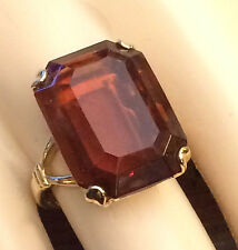 Vintage 1978 Avon Simulated Smoky Brown Topaz Ring Size 7 Gold Tone*USA*Gift Box