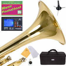 MENDINI Bb TRUMPET ~GOLD LACQUERED FOR CONCERT BAND +TUNER+STAND+CARE KIT+CASE
