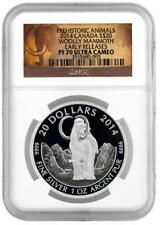 2014 Canada 1 oz Proof Silver $20 The Woolly Mammoth NGC PF70 Early Releases