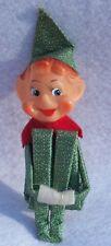 Vintage Mid Century 1950'S Green & Gold Pixie Elf Christmas Knee Hugger Ornament