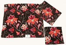 3 Pc C Home Bright Floral Jacobean Brown Velour Bath Hand Towel Wash Cloth New
