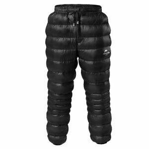 Black Unisex Goose Down Pants Hiking Camping Warm Compression Snow Trousers