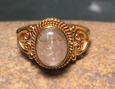 Gold Plate/Sterling silver rutilated quartz ring UK O¾-P /US 7.75 Gift bag.
