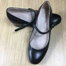 FOOTGLOVE UK 5 Wider Fit Black Leather Mary Jane Shoes Block Heel Office Work