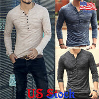 Men's Fashion Plain Slim Fit Long Sleeve Tops T-Shirt Muscle Tee Casual Blouse