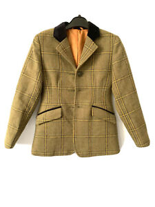 Equetech Childs Launton Tweed Pure New Wool Riding Hacking Show Jacket 26 6 7 Y