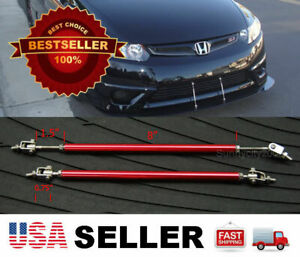 "Red 8"" adjustable extension Rod Bumper Lip Diffuser splitter For Honda Acura"