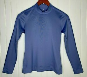 Nike Golf Dry Fit Womens Sz Small Blue Mock Neck Long Sleeve Shirt Stripe Accent