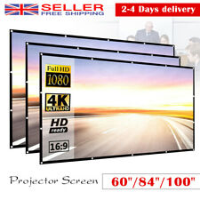 """60~150"""" Foldable Projector Screen 16:9 HD Home Cinema Theater Movie 160° View UK"""