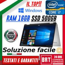 PC NOTEBOOK PORTATILE DELL XPS 13 9365 CPU i7 7Y75 RAM 16GB SSD 512GB WIN10 PRO!